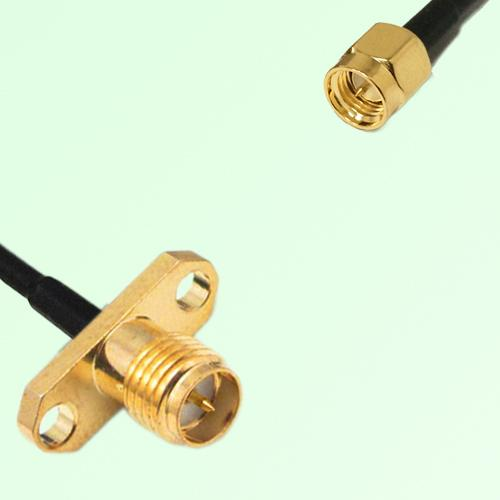 RP SMA Female 2 Hole Panel Mount to SMA Male  RF Cable Assembly