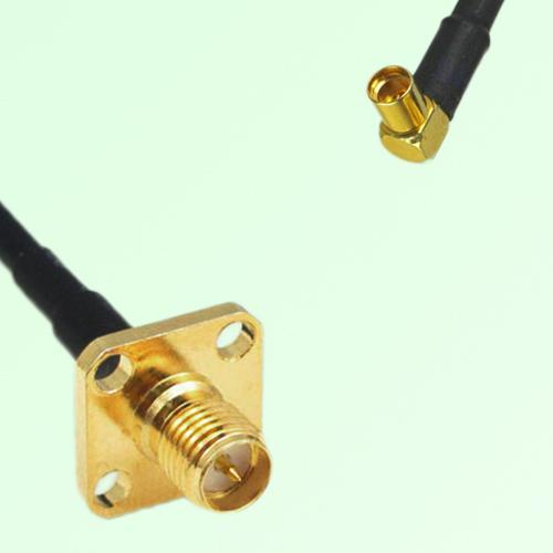 RP SMA Female 4 Hole Panel Mount to MMCX Female RA  RF Cable Assembly