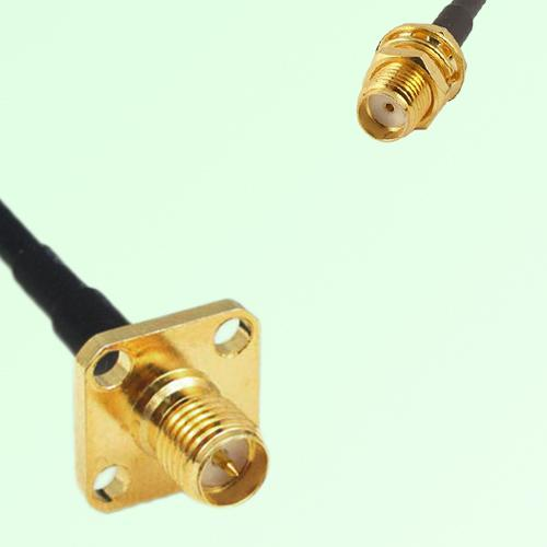 RP SMA Female Panel Mount to SMA Bulkhead Female  RF Cable Assembly