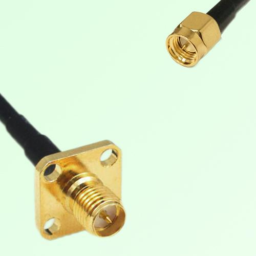 RP SMA Female 4 Hole Panel Mount to SMA Male  RF Cable Assembly