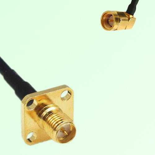 RP SMA Female 4 Hole Panel Mount to SMA Male RA  RF Cable Assembly