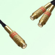 RCA Female to Two RCA Female Y Type Cable Assembly