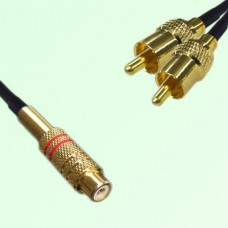 RCA Female to Two RCA Male Y Type Cable Assembly