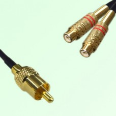 RCA Male to Two RCA Female Y Type Cable Assembly