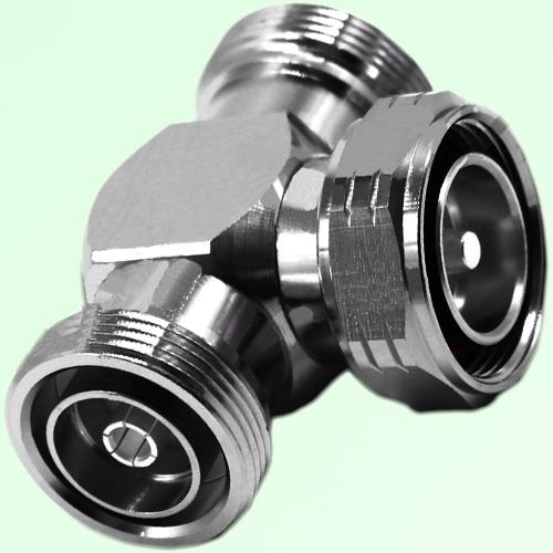 T Type 7/16 DIN Male Plug to Two 7/16 DIN Female Jack Adapter