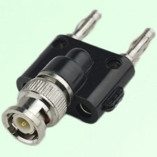 Y Type BNC Male Plug to Two Banana Male Plug Adapter