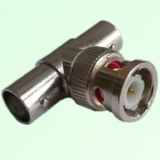 T Type BNC Male Plug to Two BNC Female Jack Adapter