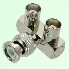 Y Type Right Angle BNC Male Plug to Two BNC Female Jack Adapter
