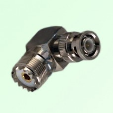 Right Angle BNC Male Plug to UHF SO239 Female Jack Adapter