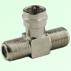 T Type F Male Plug to Two F Female Jack Adapter