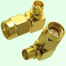 Right Angle MCX Female Jack to SMA Male Plug Adapter