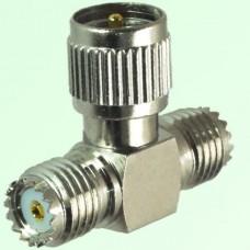 T Type Mini UHF Male Plug to Two Mini UHF Female Jack Adapter