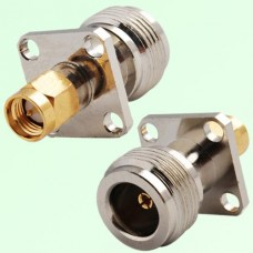 4 Hole Panel Mount N Female Jack to SMA Male Plug Adapter