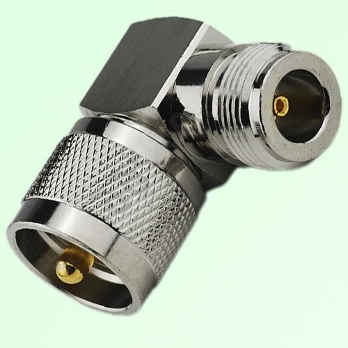 Right Angle N Female Jack to UHF PL259 Male Plug Adapter