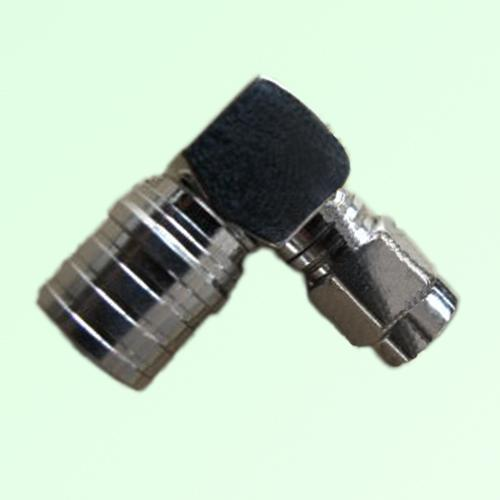 Right Angle QMA Male Plug to SMA Male Plug Adapter