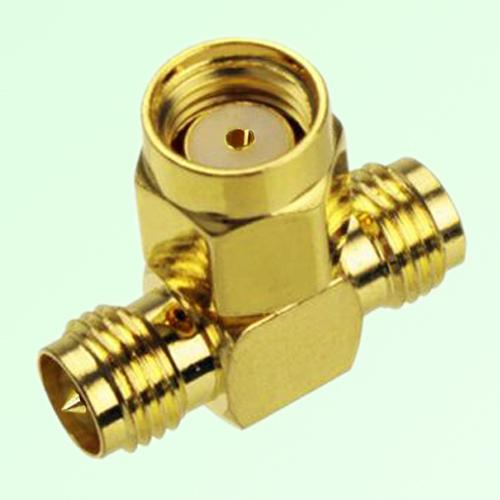 T Type RP SMA Male Plug to Two RP SMA Female Jack Adapter