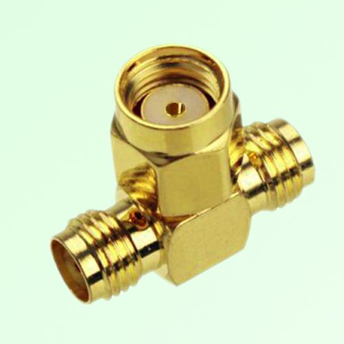 T Type RP SMA Male Plug to Two SMA Female Jack Adapter