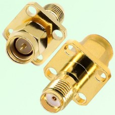 4 Hole Panel Mount SMA Female Jack to SMA Male Plug Adapter