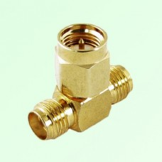 T Type SMA Male Plug to Two SMA Female Jack Adapter