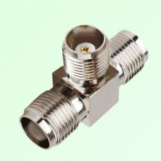 T Type Three TNC Female Jack Adapter TNC to TNC to TNC