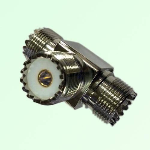 T Type Three UHF SO239 Female Jack Adapter UHF to UHF to UHF