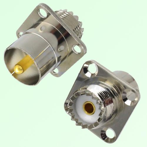 4 Hole Panel Mount UHF SO239 Female to UHF Male Quick Push-on Adapter