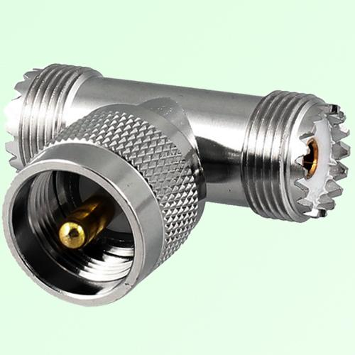 T Type UHF PL259 Male Plug to Two UHF SO239 Female Jack Adapter