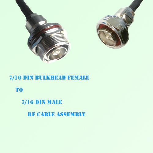 7/16 DIN Bulkhead Female to 7/16 DIN Male RF Cable Assembly