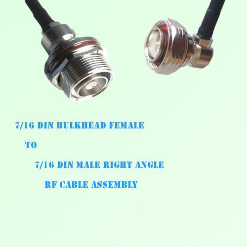 7/16 DIN Bulkhead Female to 7/16 DIN Male R/A RF Cable Assembly