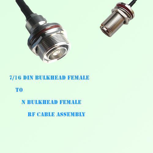 7/16 DIN Bulkhead Female to N Bulkhead Female RF Cable Assembly
