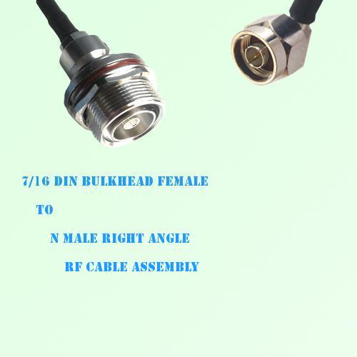 7/16 DIN Bulkhead Female to N Male Right Angle RF Cable Assembly