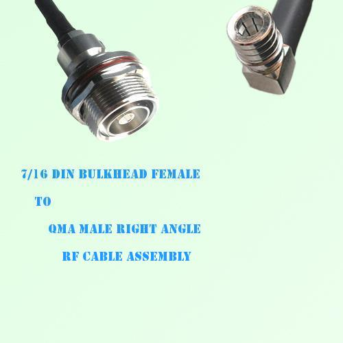 7/16 DIN Bulkhead Female to QMA Male Right Angle RF Cable Assembly
