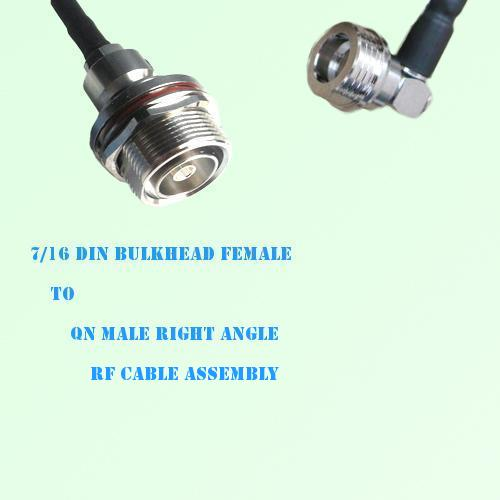 7/16 DIN Bulkhead Female to QN Male Right Angle RF Cable Assembly