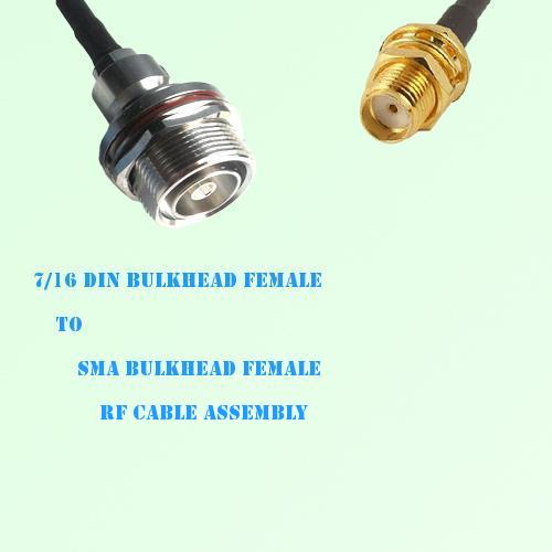 7/16 DIN Bulkhead Female to SMA Bulkhead Female RF Cable Assembly