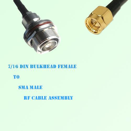 7/16 DIN Bulkhead Female to SMA Male RF Cable Assembly
