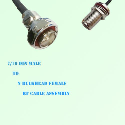 7/16 DIN Male to N Bulkhead Female RF Cable Assembly