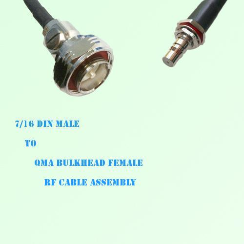 7/16 DIN Male to QMA Bulkhead Female RF Cable Assembly