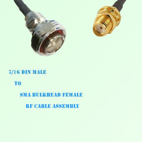 7/16 DIN Male to SMA Bulkhead Female RF Cable Assembly