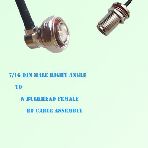 7/16 DIN Male Right Angle to N Bulkhead Female RF Cable Assembly