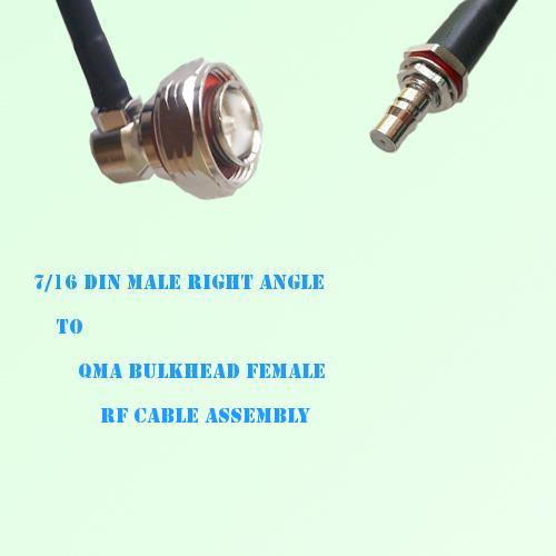 7/16 DIN Male Right Angle to QMA Bulkhead Female RF Cable Assembly