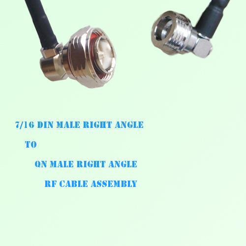 7/16 DIN Male Right Angle to QN Male Right Angle RF Cable Assembly