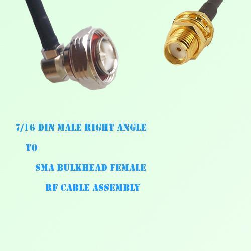 7/16 DIN Male Right Angle to SMA Bulkhead Female RF Cable Assembly