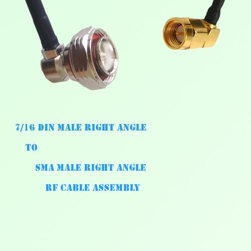 7/16 DIN Male Right Angle to SMA Male Right Angle RF Cable Assembly