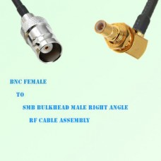 BNC Female to SMB Bulkhead Male Right Angle RF Cable Assembly