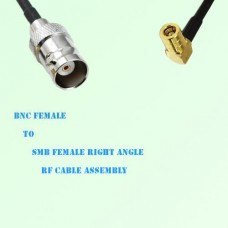 BNC Female to SMB Female Right Angle RF Cable Assembly