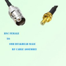 BNC Female to SMB Bulkhead Male RF Cable Assembly