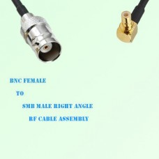 BNC Female to SMB Male Right Angle RF Cable Assembly