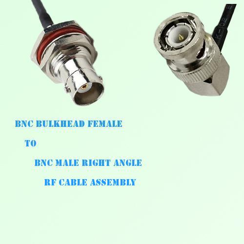 BNC Bulkhead Female to BNC Male Right Angle RF Cable Assembly