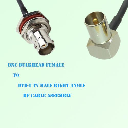 BNC Bulkhead Female to DVB-T TV Male Right Angle RF Cable Assembly