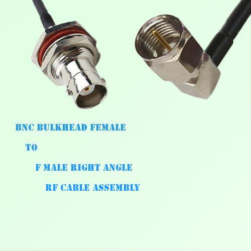 BNC Bulkhead Female to F Male Right Angle RF Cable Assembly